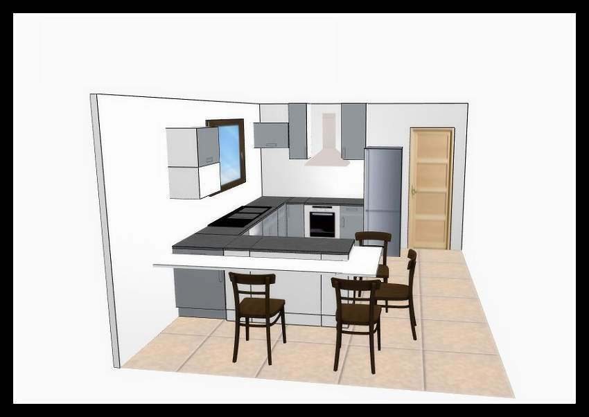Plan amenagement cuisine etonnant modele amenagement for Plan cuisine 3d
